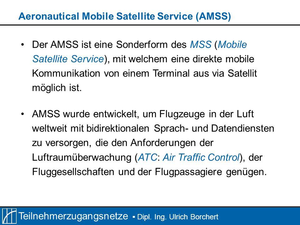 Teilnehmerzugangsnetze Dipl. Ing. Ulrich Borchert Der AMSS ist eine Sonderform des MSS (Mobile Satellite Service), mit welchem eine direkte mobile Kom