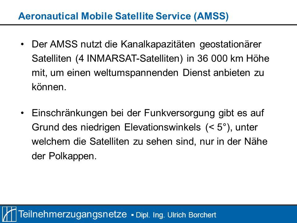 Teilnehmerzugangsnetze Dipl. Ing. Ulrich Borchert Der AMSS nutzt die Kanalkapazitäten geostationärer Satelliten (4 INMARSAT-Satelliten) in 36 000 km H