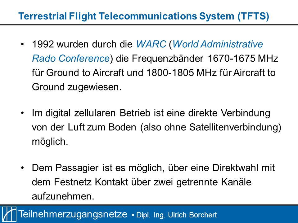Teilnehmerzugangsnetze Dipl. Ing. Ulrich Borchert 1992 wurden durch die WARC (World Administrative Rado Conference) die Frequenzbänder 1670-1675 MHz f