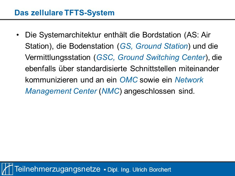 Teilnehmerzugangsnetze Dipl. Ing. Ulrich Borchert Die Systemarchitektur enthält die Bordstation (AS: Air Station), die Bodenstation (GS, Ground Statio
