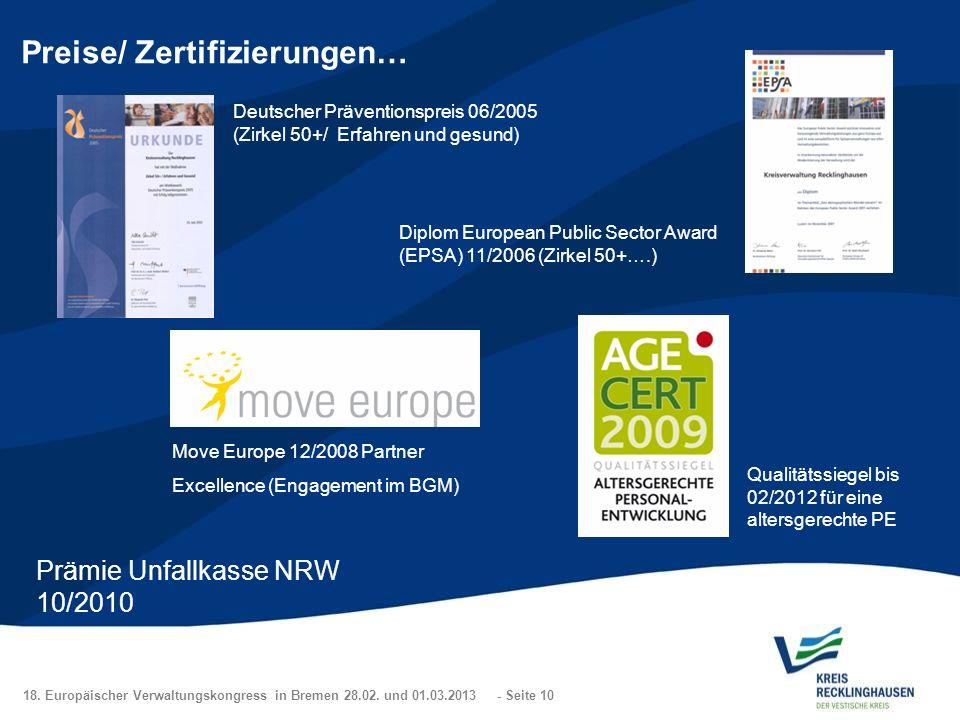 18. Europäischer Verwaltungskongress in Bremen 28.02. und 01.03.2013 - Seite 10 Preise/ Zertifizierungen… Deutscher Präventionspreis 06/2005 (Zirkel 5