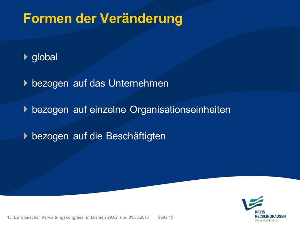18. Europäischer Verwaltungskongress in Bremen 28.02. und 01.03.2013 - Seite 15 Formen der Veränderung global bezogen auf das Unternehmen bezogen auf