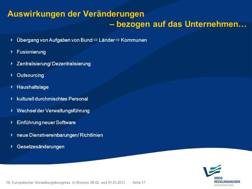 18. Europäischer Verwaltungskongress in Bremen 28.02. und 01.03.2013 - Seite 17 Auswirkungen der Veränderungen – bezogen auf das Unternehmen… Übergang