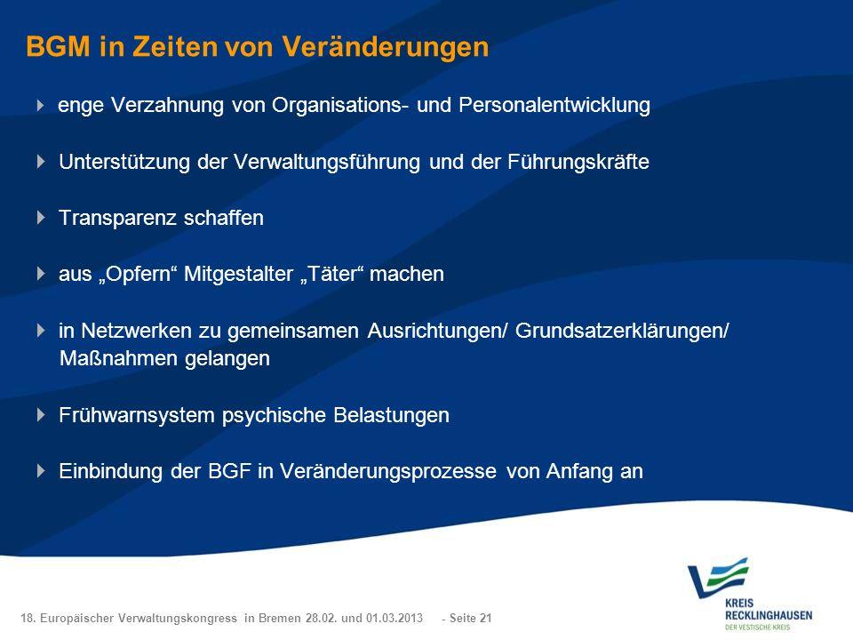 18. Europäischer Verwaltungskongress in Bremen 28.02. und 01.03.2013 - Seite 21 BGM in Zeiten von Veränderungen enge Verzahnung von Organisations- und