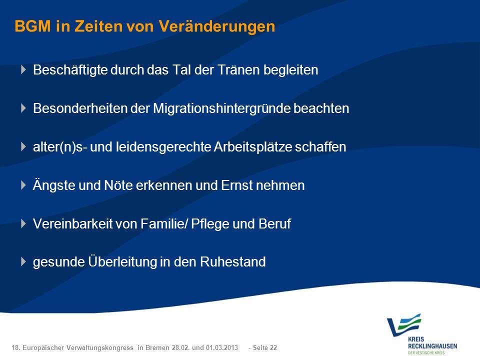 18. Europäischer Verwaltungskongress in Bremen 28.02. und 01.03.2013 - Seite 22 BGM in Zeiten von Veränderungen Beschäftigte durch das Tal der Tränen