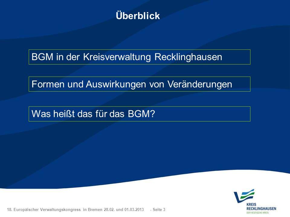 18. Europäischer Verwaltungskongress in Bremen 28.02. und 01.03.2013 - Seite 3 Überblick BGM in der Kreisverwaltung Recklinghausen Formen und Auswirku