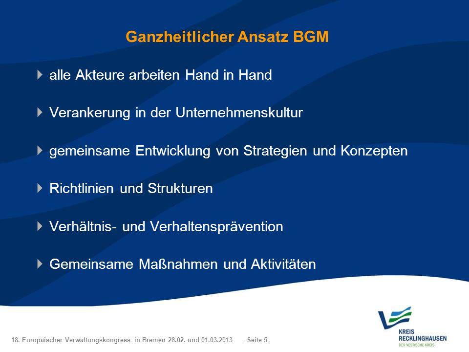 18. Europäischer Verwaltungskongress in Bremen 28.02. und 01.03.2013 - Seite 5 Ganzheitlicher Ansatz BGM alle Akteure arbeiten Hand in Hand Verankerun