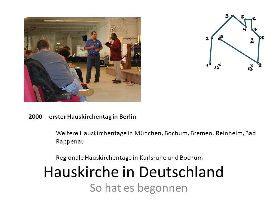 Hauskirche in Deutschland So hat es begonnen 2000 – erster Hauskirchentag in Berlin Weitere Hauskirchentage in München, Bochum, Bremen, Reinheim, Bad