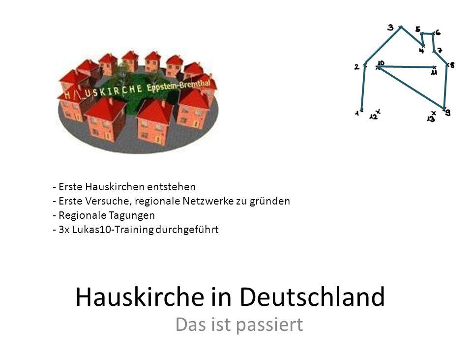 Hauskirche in Deutschland Das ist passiert - Erste Hauskirchen entstehen - Erste Versuche, regionale Netzwerke zu gründen - Regionale Tagungen - 3x Lu