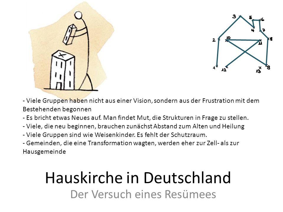 Hauskirche in Deutschland Der Versuch eines Resümees - Viele Gruppen haben nicht aus einer Vision, sondern aus der Frustration mit dem Bestehenden beg