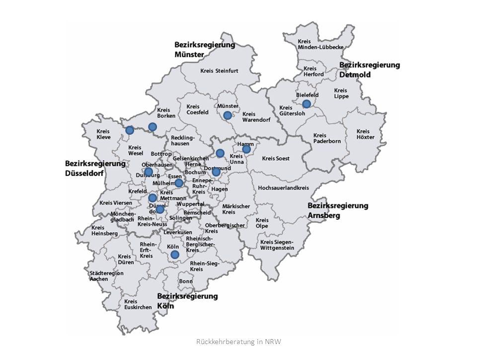12 landesgeförderte Rückkehrberatungsstellen, angesiedelt bei den Wohlfahrtsverbänden Pauschale Förderung (anteilig Personalkosten) Rückkehrbudget für landesgeförderte Stellen Rückkehrberatung in NRW
