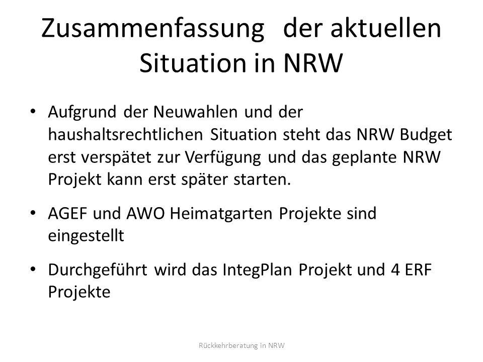 Säulen der Rückkehrförderung Intensive Beratung REAG / GARP Programm Individuelle Hilfen Integrierte Rückkehrplanung / Unterstützung vor Ort Rückkehrberatung in NRW