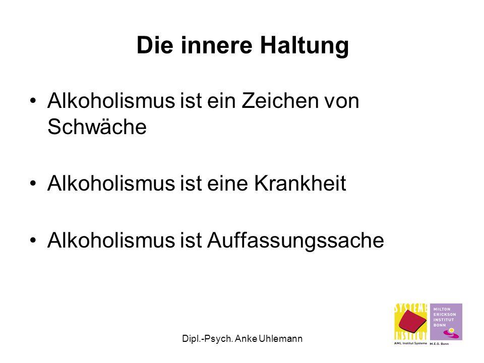 Dipl.-Psych. Anke Uhlemann Die innere Haltung Alkoholismus ist ein Zeichen von Schwäche Alkoholismus ist eine Krankheit Alkoholismus ist Auffassungssa