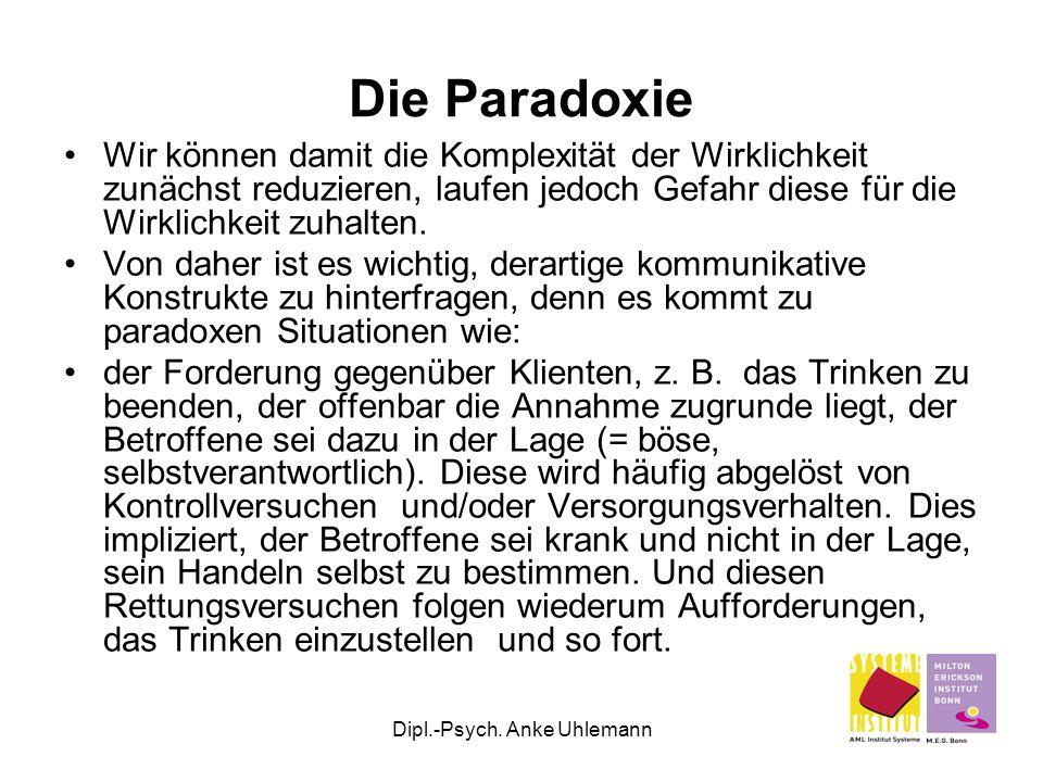 Dipl.-Psych. Anke Uhlemann Die Paradoxie Wir können damit die Komplexität der Wirklichkeit zunächst reduzieren, laufen jedoch Gefahr diese für die Wir