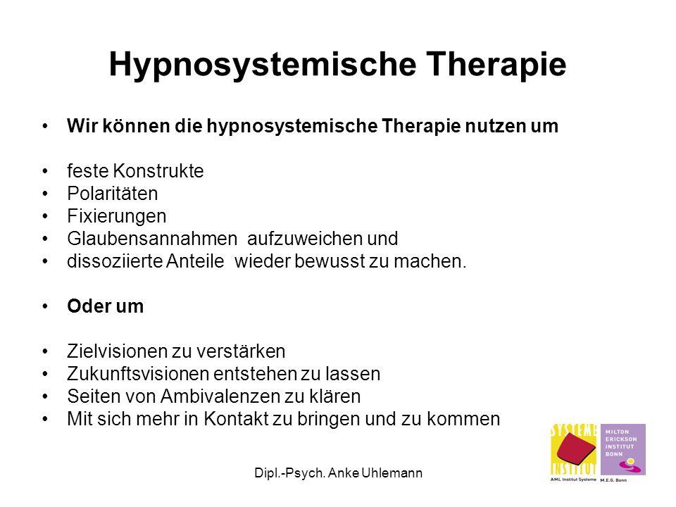 Dipl.-Psych. Anke Uhlemann Hypnosystemische Therapie Wir können die hypnosystemische Therapie nutzen um feste Konstrukte Polaritäten Fixierungen Glaub