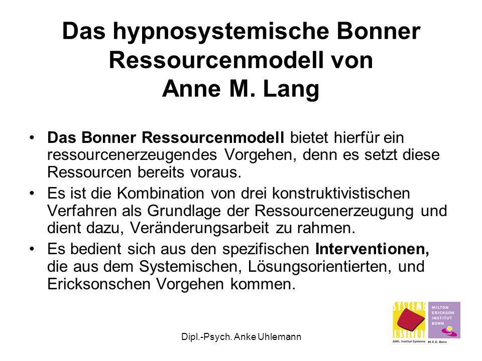 Dipl.-Psych. Anke Uhlemann Das hypnosystemische Bonner Ressourcenmodell von Anne M. Lang Das Bonner Ressourcenmodell bietet hierfür ein ressourcenerze