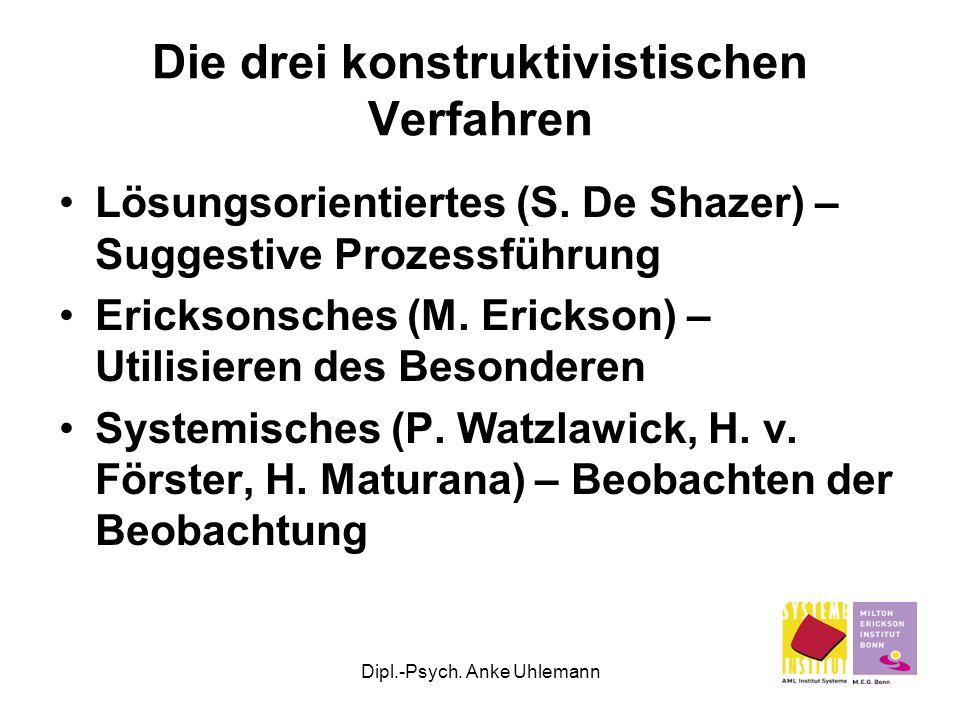 Dipl.-Psych. Anke Uhlemann Die drei konstruktivistischen Verfahren Lösungsorientiertes (S. De Shazer) – Suggestive Prozessführung Ericksonsches (M. Er