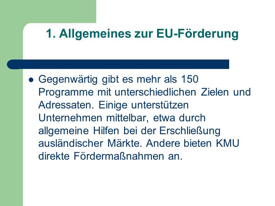 1. Allgemeines zur EU-Förderung Gegenwärtig gibt es mehr als 150 Programme mit unterschiedlichen Zielen und Adressaten. Einige unterstützen Unternehme