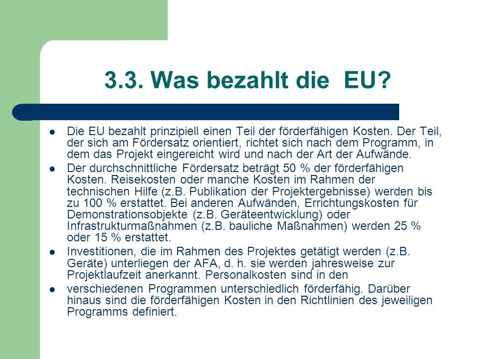 3.3. Was bezahlt die EU? Die EU bezahlt prinzipiell einen Teil der förderfähigen Kosten. Der Teil, der sich am Fördersatz orientiert, richtet sich nac