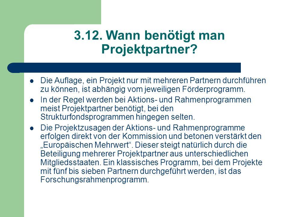 3.12. Wann benötigt man Projektpartner? Die Auflage, ein Projekt nur mit mehreren Partnern durchführen zu können, ist abhängig vom jeweiligen Förderpr