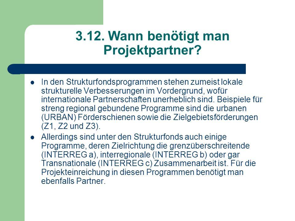 3.12. Wann benötigt man Projektpartner? In den Strukturfondsprogrammen stehen zumeist lokale strukturelle Verbesserungen im Vordergrund, wofür interna