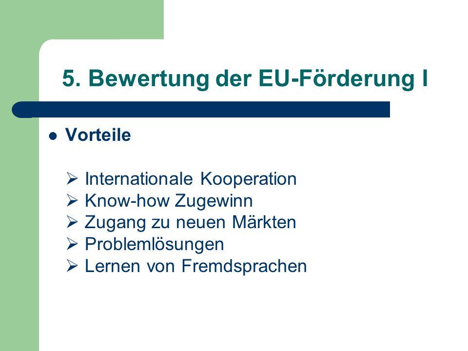 5. Bewertung der EU-Förderung I Vorteile Internationale Kooperation Know-how Zugewinn Zugang zu neuen Märkten Problemlösungen Lernen von Fremdsprachen