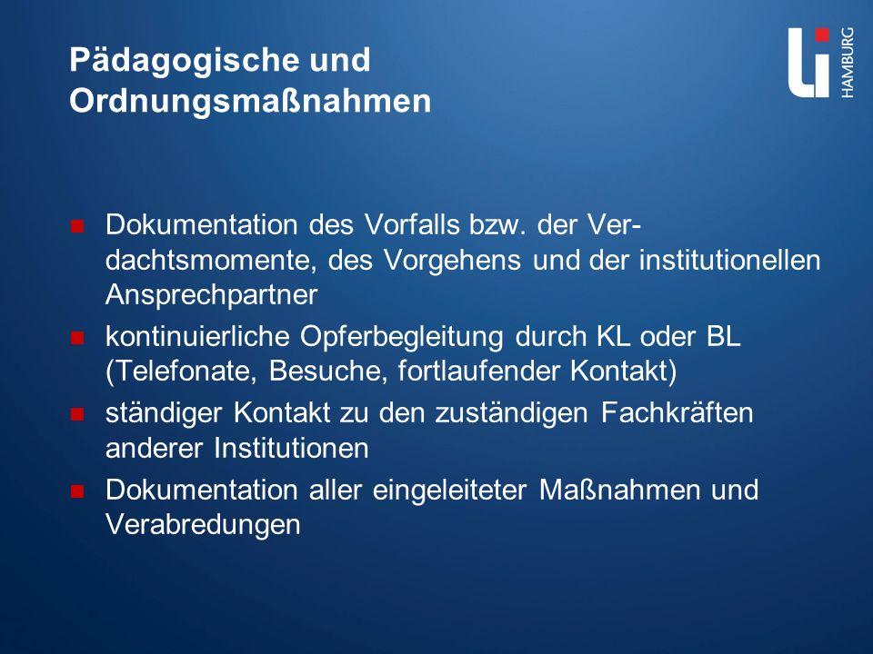 Pädagogische und Ordnungsmaßnahmen Dokumentation des Vorfalls bzw. der Ver- dachtsmomente, des Vorgehens und der institutionellen Ansprechpartner kont