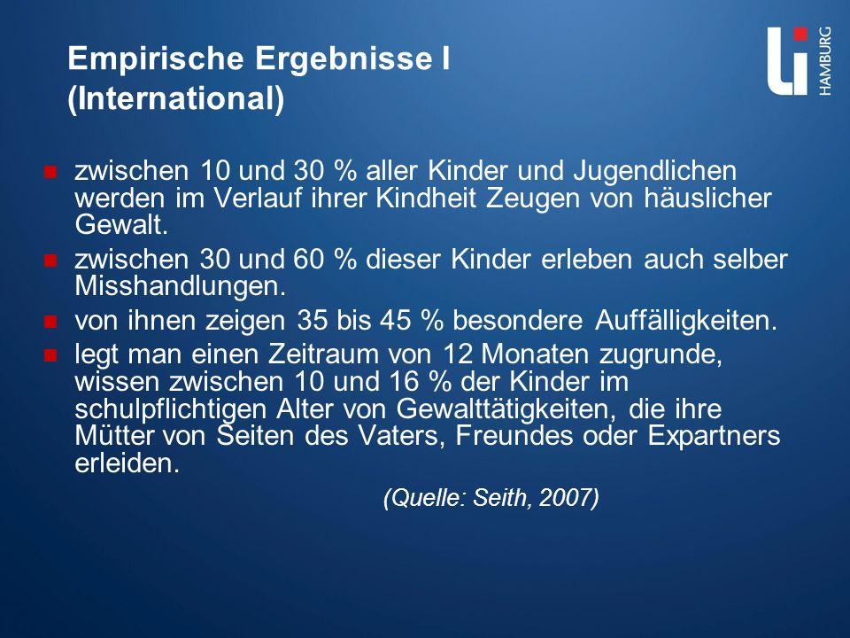 Empirische Ergebnisse I (International) zwischen 10 und 30 % aller Kinder und Jugendlichen werden im Verlauf ihrer Kindheit Zeugen von häuslicher Gewa