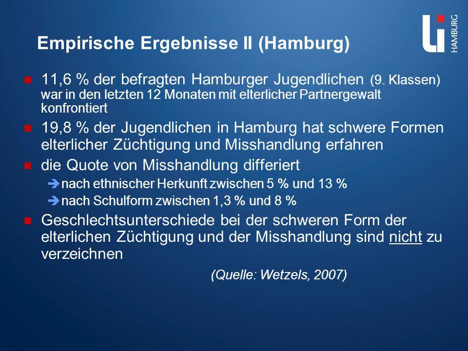 Empirische Ergebnisse II (Hamburg) 11,6 % der befragten Hamburger Jugendlichen (9. Klassen) war in den letzten 12 Monaten mit elterlicher Partnergewal