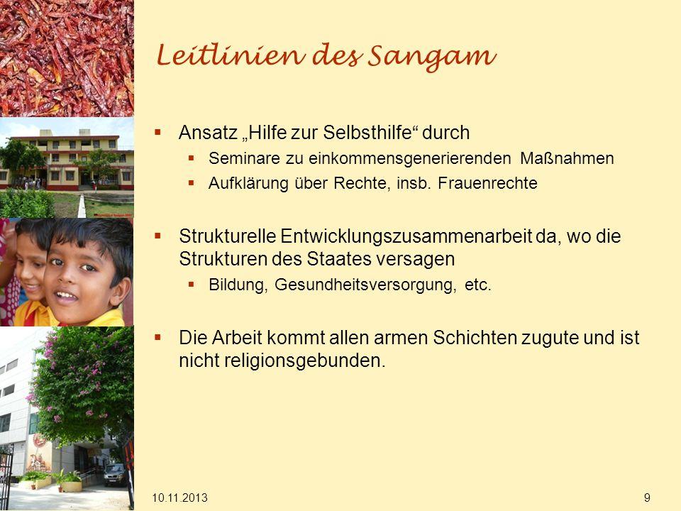 10.11.2013 9 Leitlinien des Sangam Ansatz Hilfe zur Selbsthilfe durch Seminare zu einkommensgenerierenden Maßnahmen Aufklärung über Rechte, insb. Frau