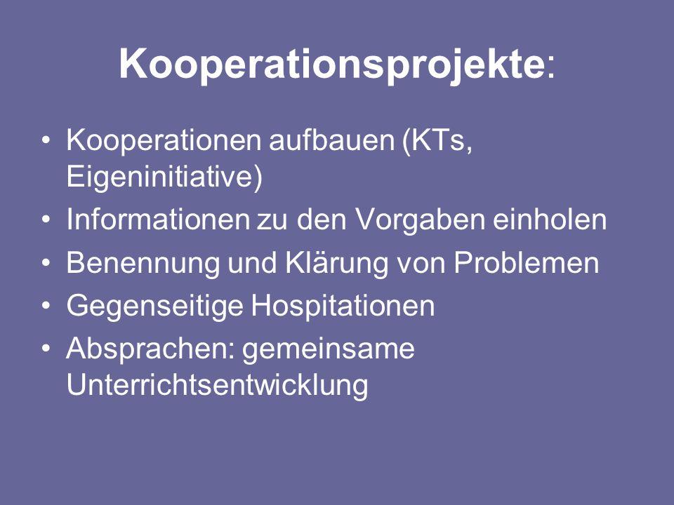 Kooperationsprojekte: Kooperationen aufbauen (KTs, Eigeninitiative) Informationen zu den Vorgaben einholen Benennung und Klärung von Problemen Gegense