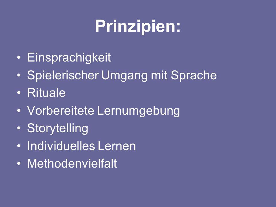 Prinzipien: Einsprachigkeit Spielerischer Umgang mit Sprache Rituale Vorbereitete Lernumgebung Storytelling Individuelles Lernen Methodenvielfalt