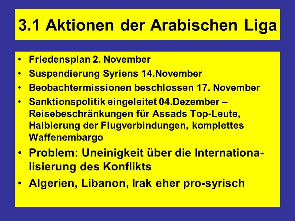 3.1 Aktionen der Arabischen Liga Friedensplan 2. November Suspendierung Syriens 14.November Beobachtermissionen beschlossen 17. November Sanktionspoli
