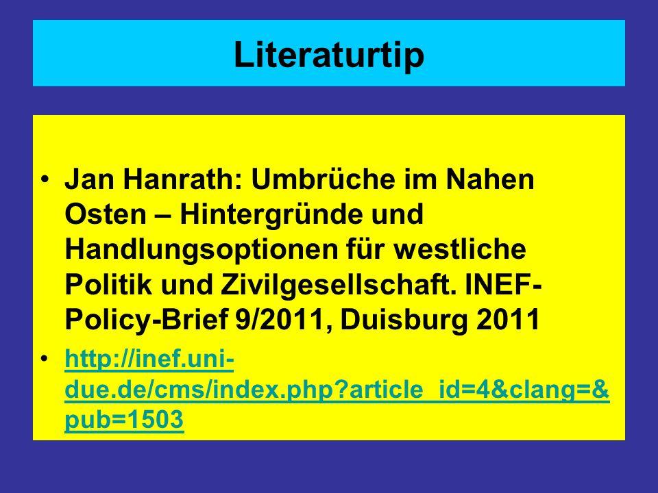 Literaturtip Jan Hanrath: Umbrüche im Nahen Osten – Hintergründe und Handlungsoptionen für westliche Politik und Zivilgesellschaft. INEF- Policy-Brief