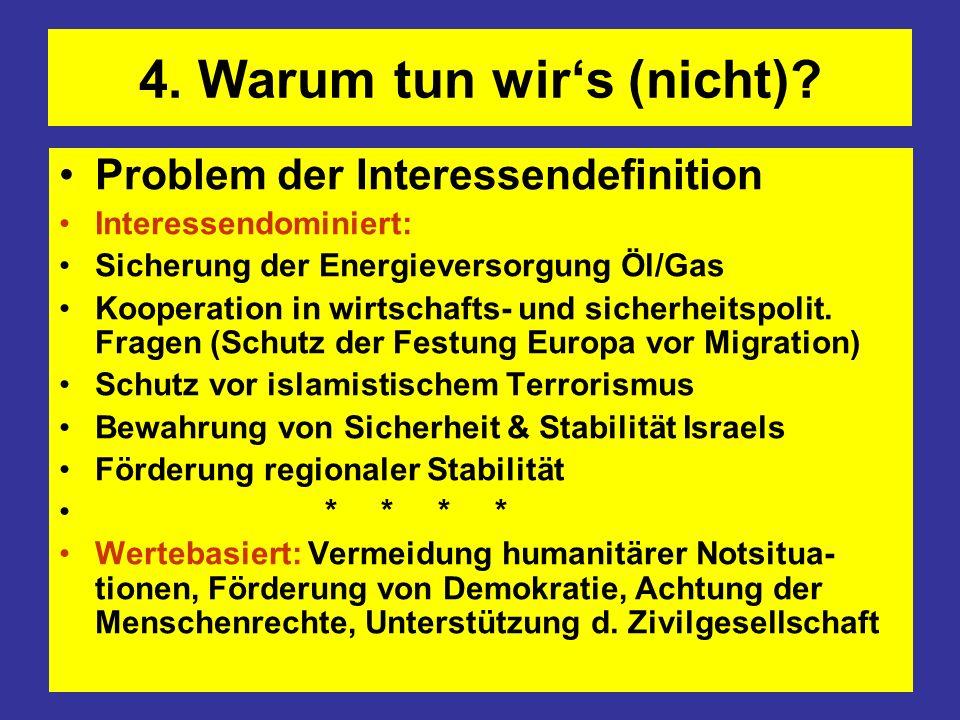 4. Warum tun wirs (nicht)? Problem der Interessendefinition Interessendominiert: Sicherung der Energieversorgung Öl/Gas Kooperation in wirtschafts- un