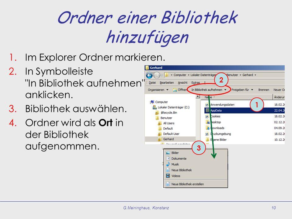 Ordner einer Bibliothek hinzufügen 1.Im Explorer Ordner markieren. 2.In Symbolleiste