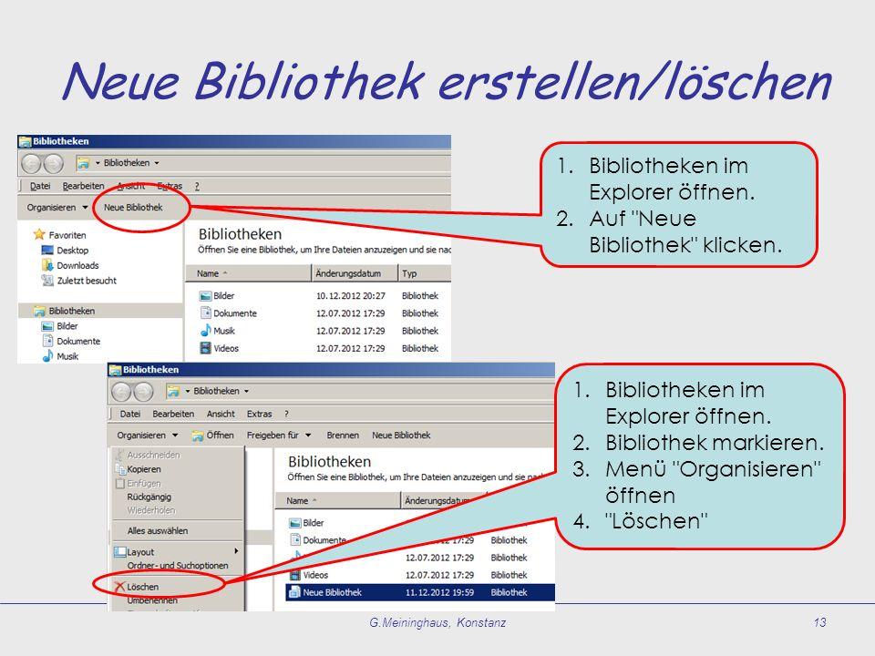 Neue Bibliothek erstellen/löschen G.Meininghaus, Konstanz13 1.Bibliotheken im Explorer öffnen. 2.Auf