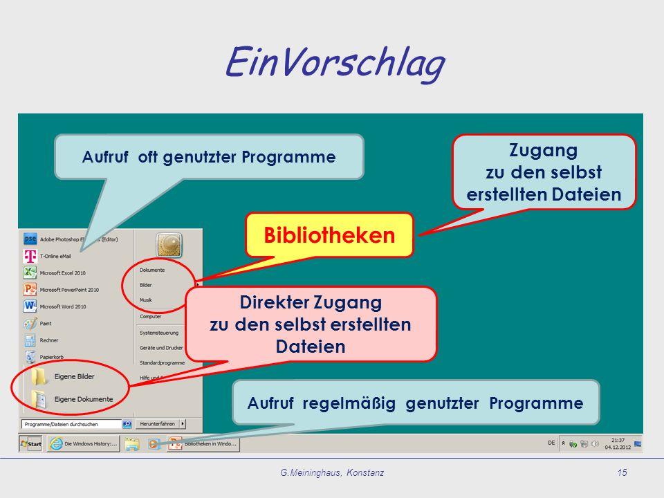 EinVorschlag G.Meininghaus, Konstanz15 Bibliotheken Aufruf regelmäßig genutzter Programme Aufruf oft genutzter Programme Zugang zu den selbst erstellt