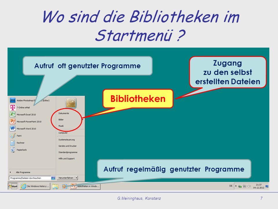 Wo sind die Bibliotheken im Startmenü ? G.Meininghaus, Konstanz7 Bibliotheken Aufruf regelmäßig genutzter Programme Aufruf oft genutzter Programme Zug
