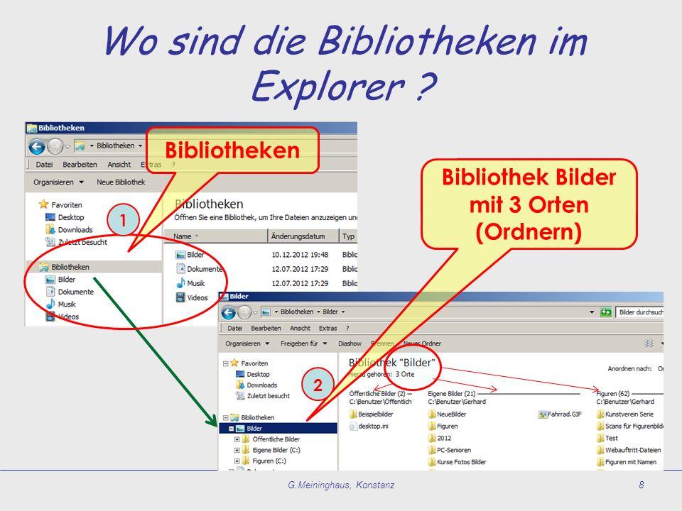 Wo sind die Bibliotheken im Explorer ? G.Meininghaus, Konstanz8 Bibliotheken Bibliothek Bilder mit 3 Orten (Ordnern) 1 2