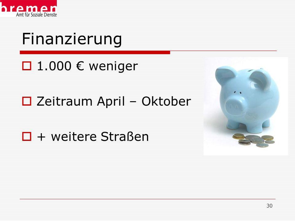 30 Finanzierung 1.000 weniger Zeitraum April – Oktober + weitere Straßen