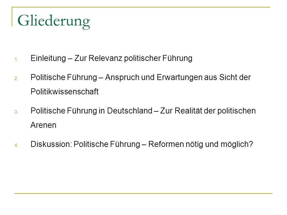 Gliederung 1. Einleitung – Zur Relevanz politischer Führung 2. Politische Führung – Anspruch und Erwartungen aus Sicht der Politikwissenschaft 3. Poli