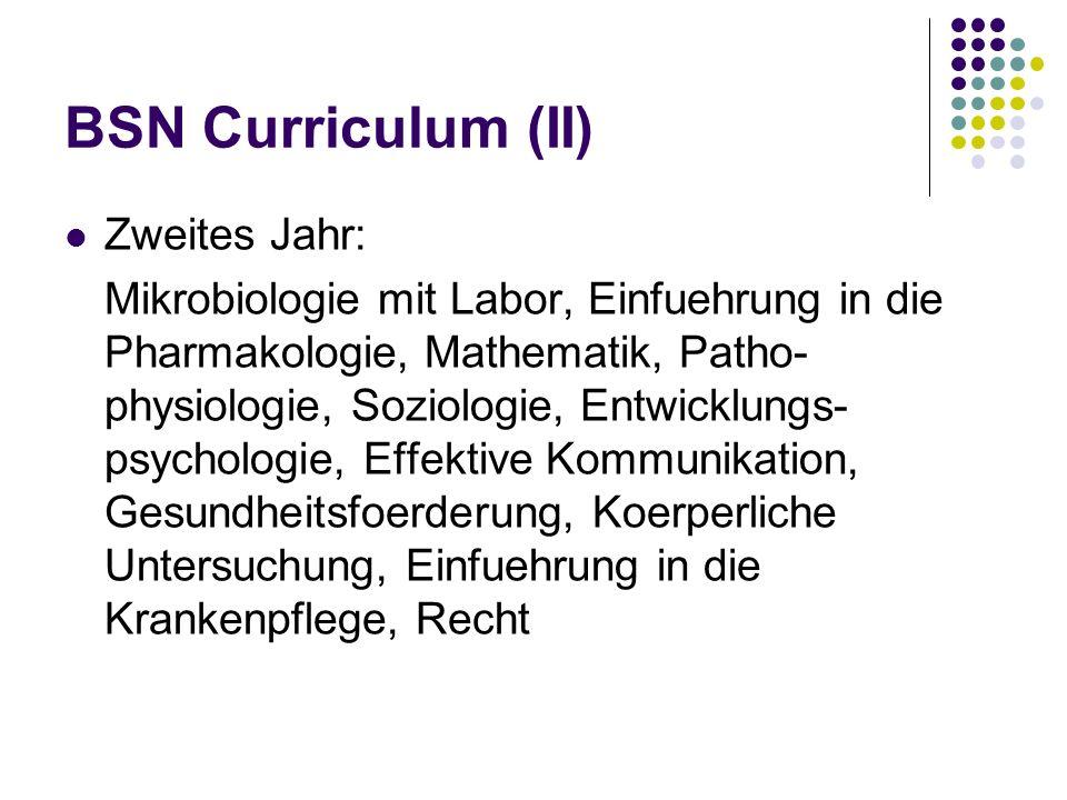 BSN Curriculum (III) Drittes Jahr: -Statistik, Pflegetheorie, Pflegeforschung -Ein Wahlfach im Bereich der Human- oder Kulturwissenschaft -Praktika in der Krankenpflege von Erwachsenen (24 Stunden in der Woche)