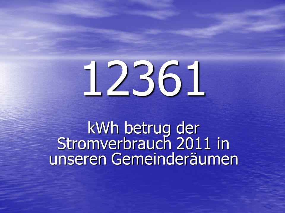 12361 kWh betrug der Stromverbrauch 2011 in unseren Gemeinderäumen