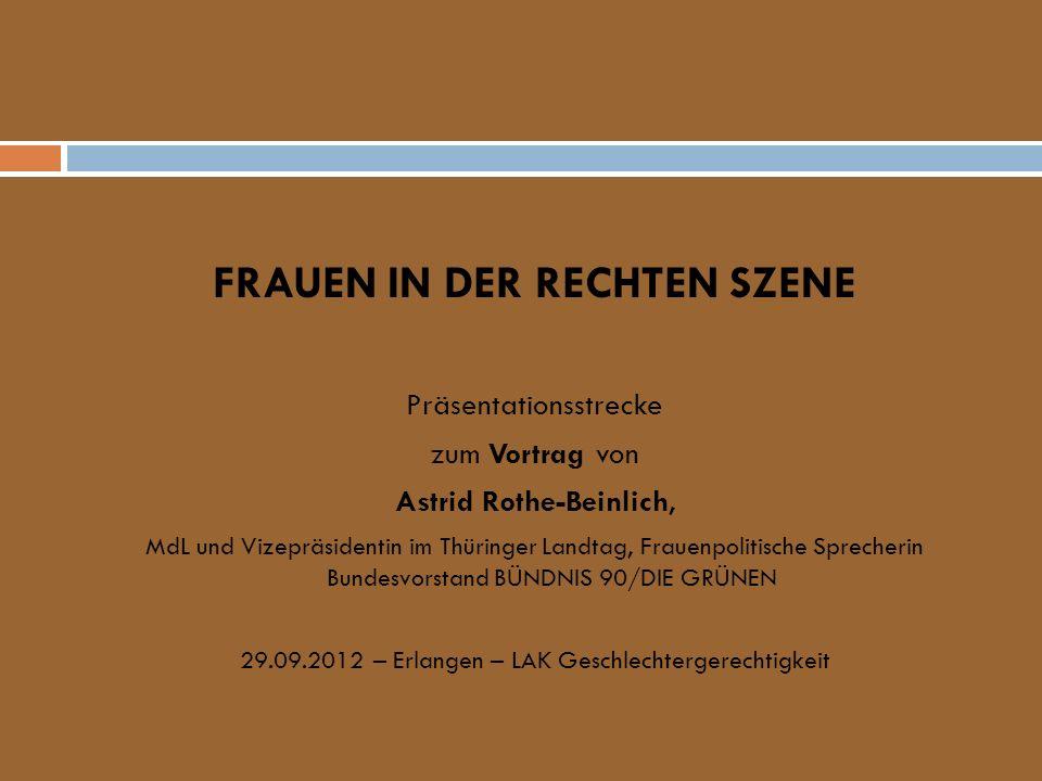 FRAUEN IN DER RECHTEN SZENE Präsentationsstrecke zum Vortrag von Astrid Rothe-Beinlich, MdL und Vizepräsidentin im Thüringer Landtag, Frauenpolitische