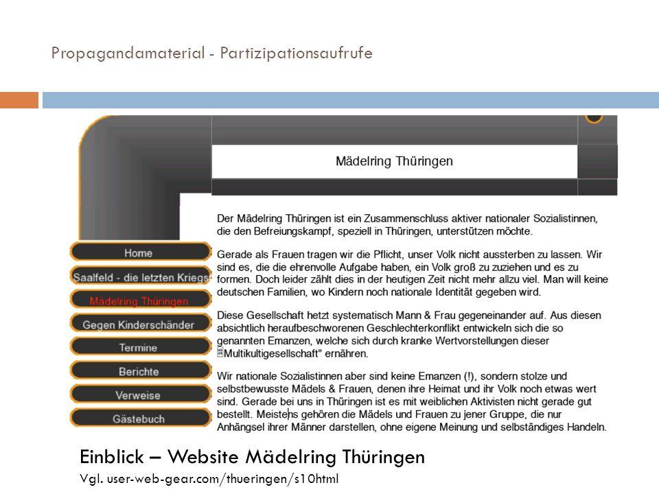 Propagandamaterial - Partizipationsaufrufe Einblick – Website Mädelring Thüringen Vgl. user-web-gear.com/thueringen/s10html