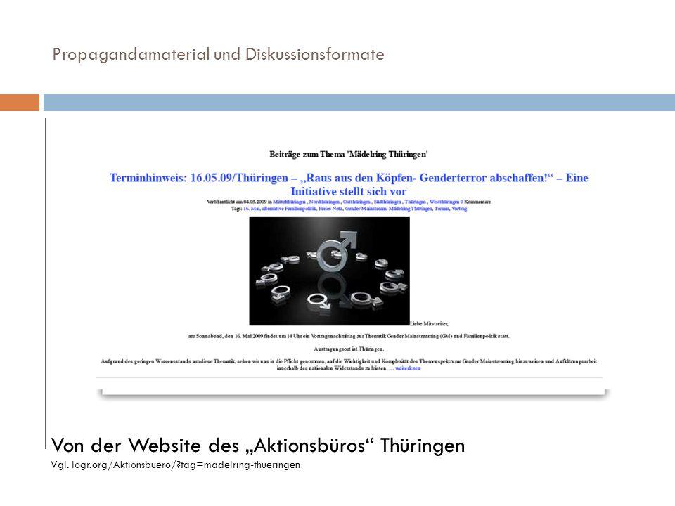 Propagandamaterial und Diskussionsformate Von der Website des Aktionsbüros Thüringen Vgl. logr.org/Aktionsbuero/?tag=madelring-thueringen
