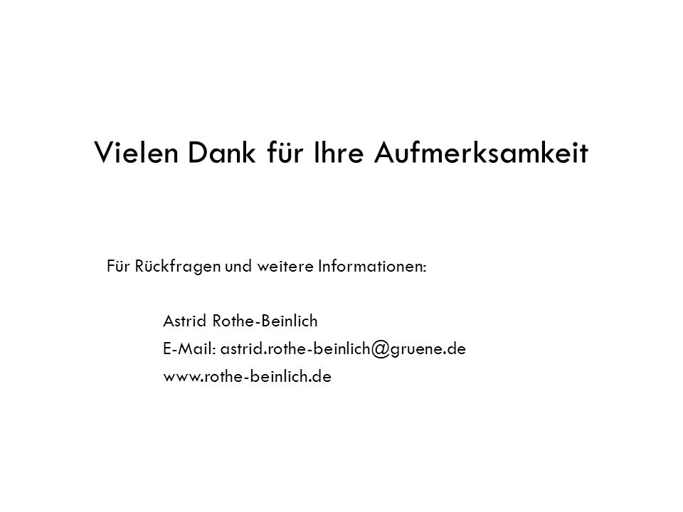 Vielen Dank für Ihre Aufmerksamkeit Für Rückfragen und weitere Informationen: Astrid Rothe-Beinlich E-Mail: astrid.rothe-beinlich@gruene.de www.rothe-