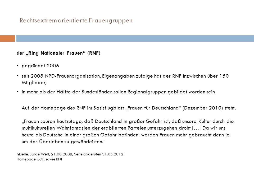 Rechtsextrem orientierte Frauengruppen der Ring Nationaler Frauen (RNF) gegründet 2006 seit 2008 NPD-Frauenorganisation, Eigenangaben zufolge hat der
