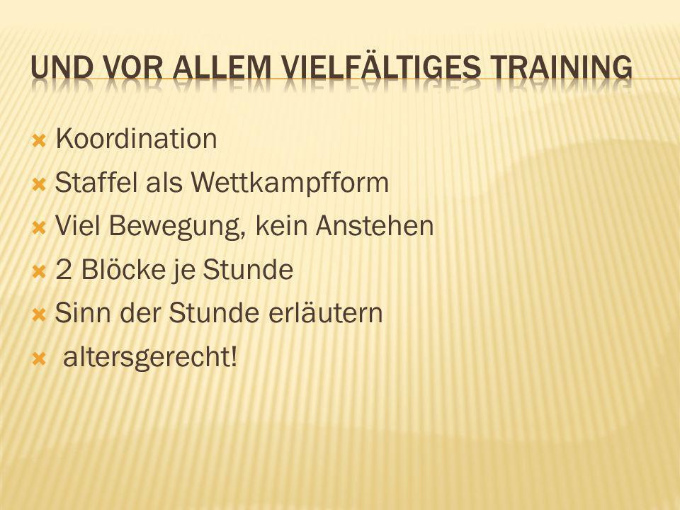 Koordination Staffel als Wettkampfform Viel Bewegung, kein Anstehen 2 Blöcke je Stunde Sinn der Stunde erläutern altersgerecht!